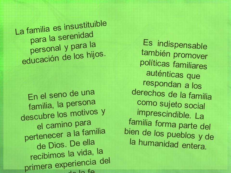Es indispensable también promover políticas familiares auténticas que respondan a los derechos de la familia como sujeto social imprescindible.