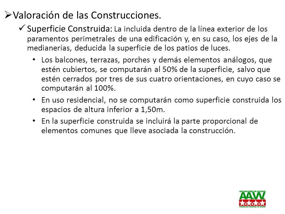 Valoración de las Construcciones. Superficie Construida: La incluida dentro de la línea exterior de los paramentos perimetrales de una edificación y,