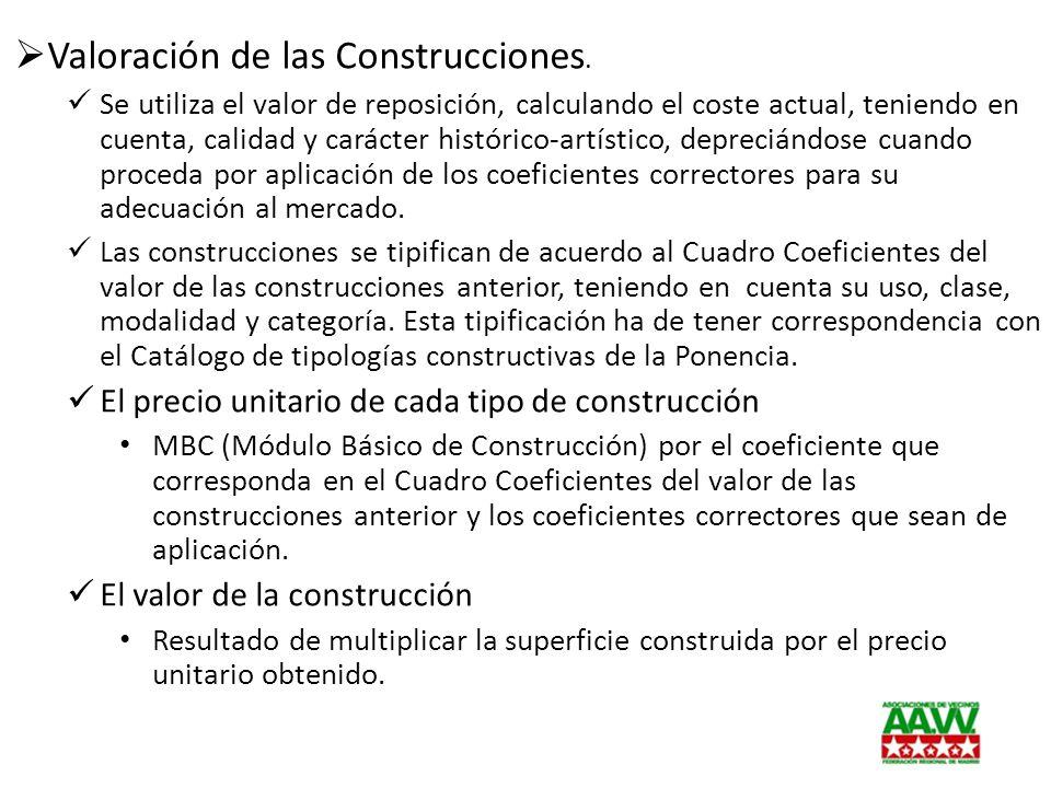 Valoración de las Construcciones. Se utiliza el valor de reposición, calculando el coste actual, teniendo en cuenta, calidad y carácter histórico-artí