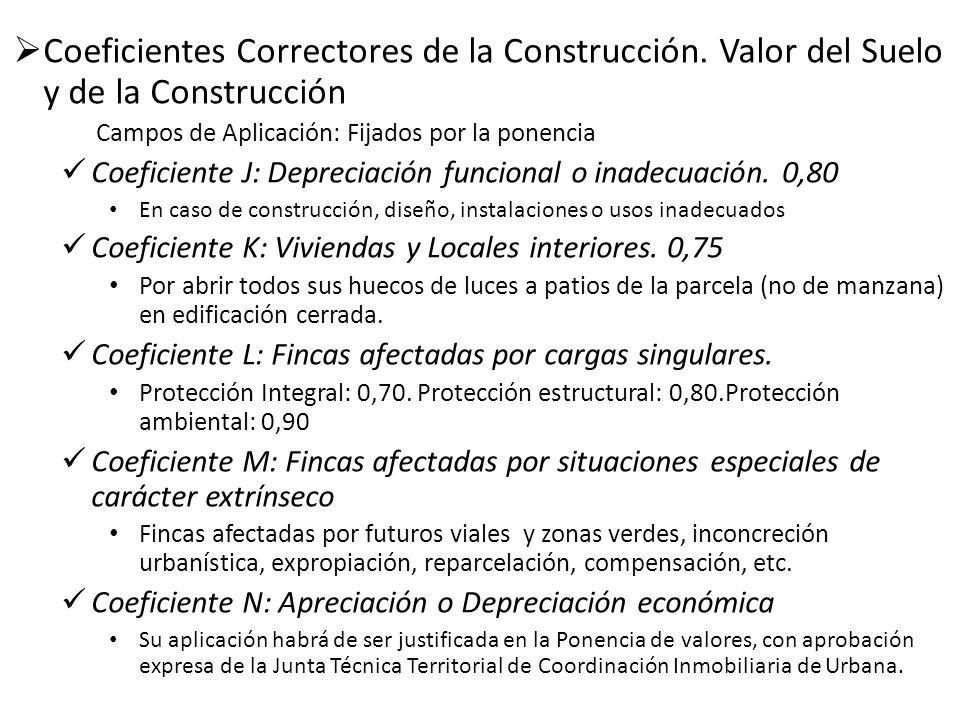 Coeficientes Correctores de la Construcción. Valor del Suelo y de la Construcción Campos de Aplicación: Fijados por la ponencia Coeficiente J: Depreci