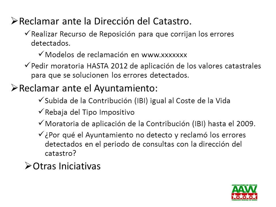 Reclamar ante la Dirección del Catastro. Realizar Recurso de Reposición para que corrijan los errores detectados. Modelos de reclamación en www.xxxxxx