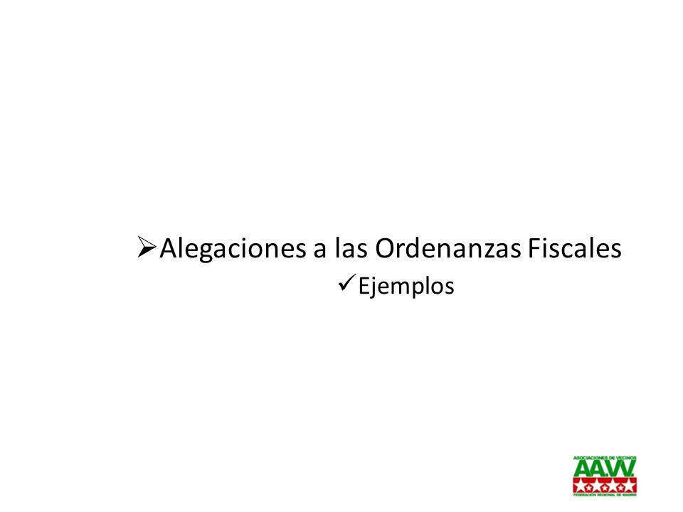 Alegaciones a las Ordenanzas Fiscales Ejemplos