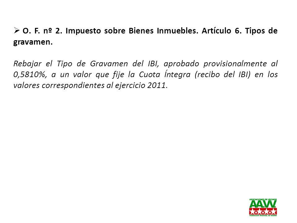 O. F. nº 2. Impuesto sobre Bienes Inmuebles. Artículo 6. Tipos de gravamen. Rebajar el Tipo de Gravamen del IBI, aprobado provisionalmente al 0,5810%,