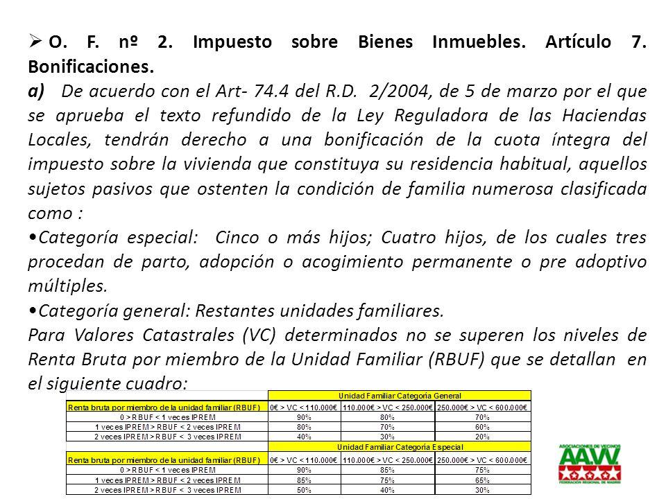 O. F. nº 2. Impuesto sobre Bienes Inmuebles. Artículo 7. Bonificaciones. a) De acuerdo con el Art- 74.4 del R.D. 2/2004, de 5 de marzo por el que se a