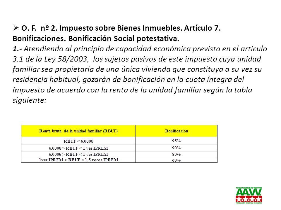 O. F. nº 2. Impuesto sobre Bienes Inmuebles. Artículo 7. Bonificaciones. Bonificación Social potestativa. 1.- Atendiendo al principio de capacidad eco