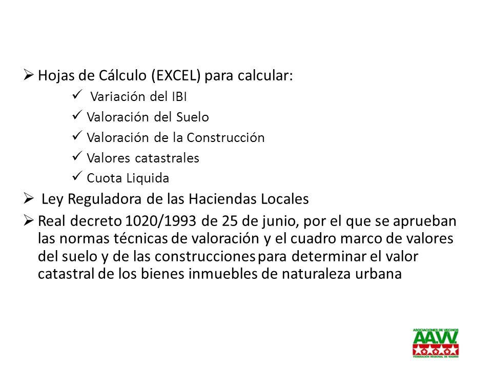 Hojas de Cálculo (EXCEL) para calcular: Variación del IBI Valoración del Suelo Valoración de la Construcción Valores catastrales Cuota Liquida Ley Reg