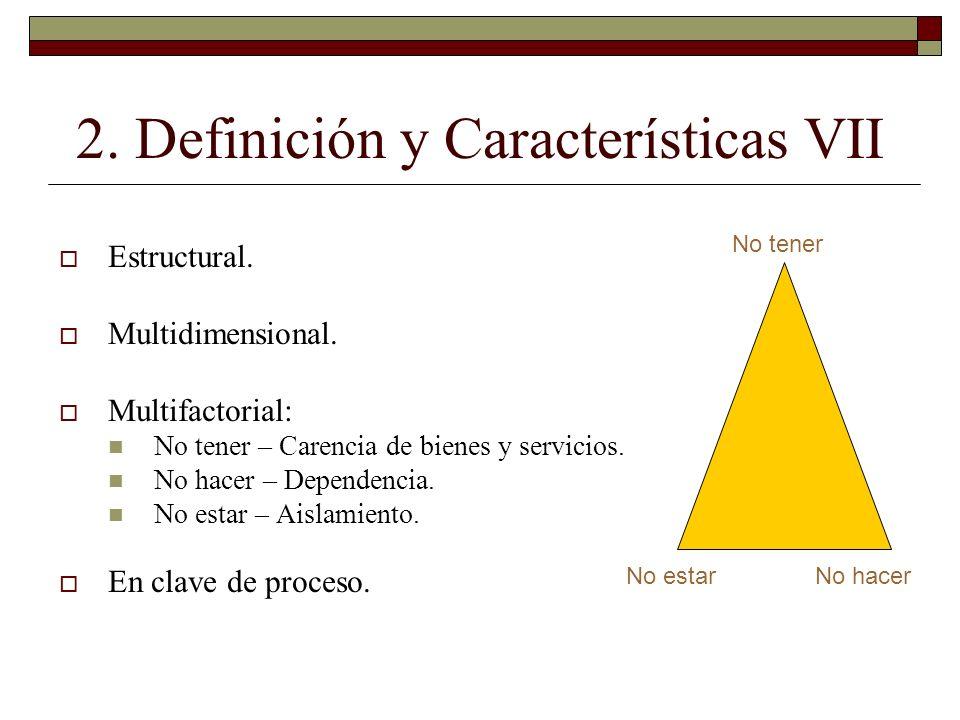 2. Definición y Características VII Estructural. Multidimensional. Multifactorial: No tener – Carencia de bienes y servicios. No hacer – Dependencia.