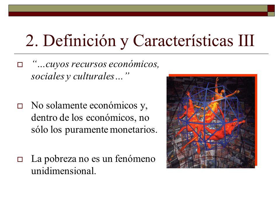 2. Definición y Características III …cuyos recursos económicos, sociales y culturales… No solamente económicos y, dentro de los económicos, no sólo lo
