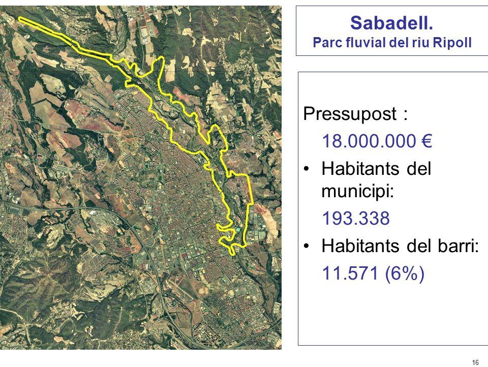 16 Sabadell. Parc fluvial del riu Ripoll Pressupost : 18.000.000 Habitants del municipi: 193.338 Habitants del barri: 11.571 (6%)