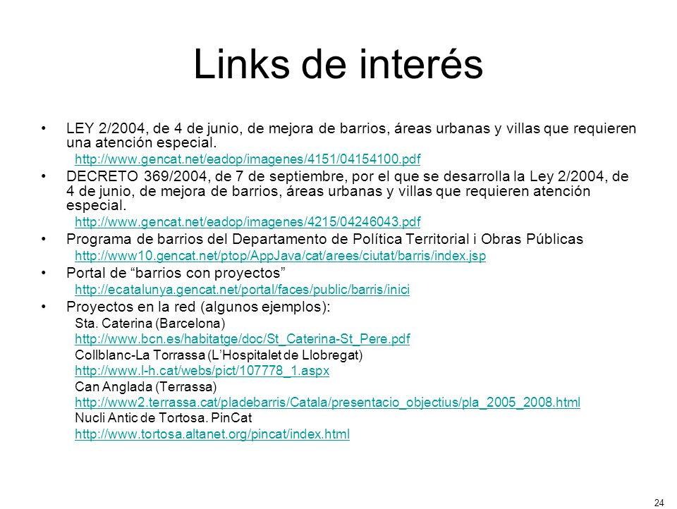 24 Links de interés LEY 2/2004, de 4 de junio, de mejora de barrios, áreas urbanas y villas que requieren una atención especial. http://www.gencat.net