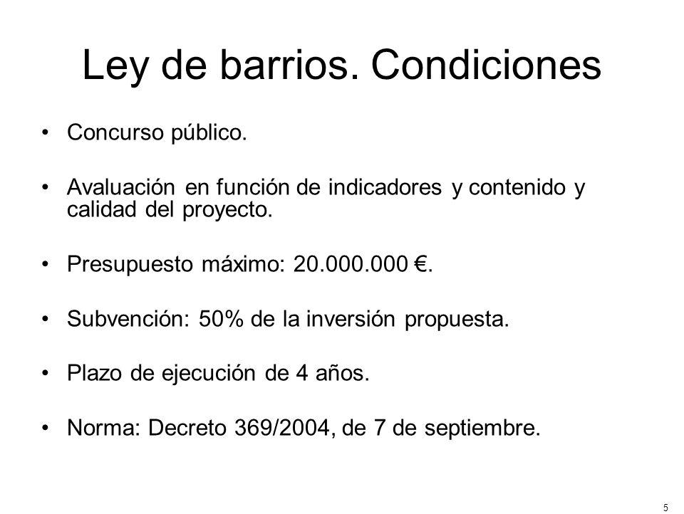 5 Ley de barrios. Condiciones Concurso público. Avaluación en función de indicadores y contenido y calidad del proyecto. Presupuesto máximo: 20.000.00