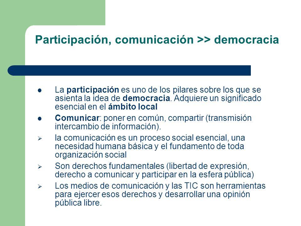 Participación, comunicación >> democracia La participación es uno de los pilares sobre los que se asienta la idea de democracia. Adquiere un significa