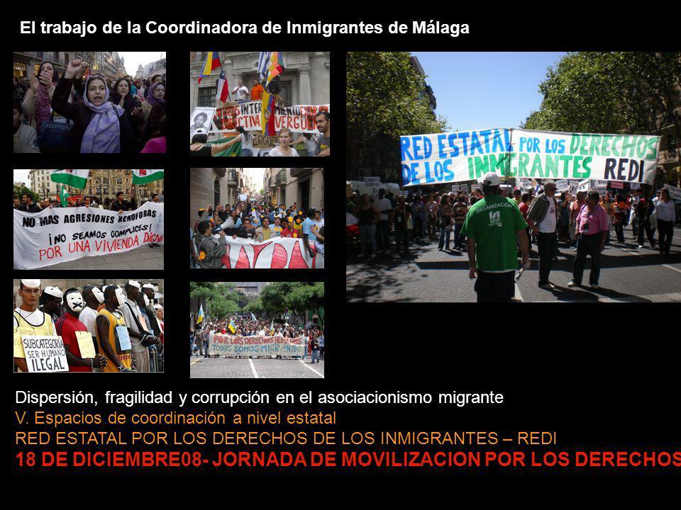 El trabajo de la Coordinadora de Inmigrantes de Málaga Dispersión, fragilidad y corrupción en el asociacionismo migrante V.