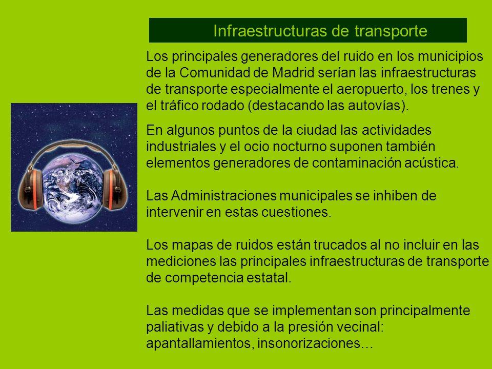 Los principales generadores del ruido en los municipios de la Comunidad de Madrid serían las infraestructuras de transporte especialmente el aeropuert