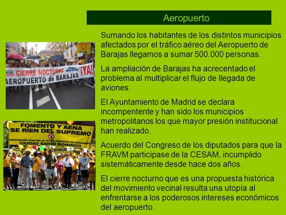 Sumando los habitantes de los distintos municipios afectados por el tráfico aéreo del Aeropuerto de Barajas llegamos a sumar 500.000 personas. La ampl