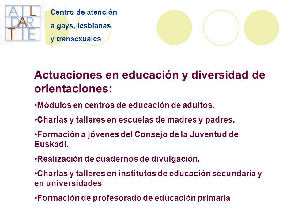 Centro de atención a gays, lesbianas y transexuales Actuaciones en educación y diversidad de orientaciones: Módulos en centros de educación de adultos.