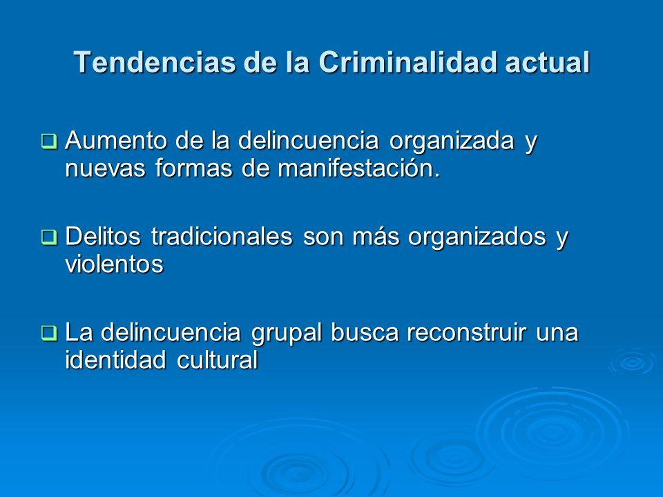 Tendencias de la Criminalidad actual Aumento de la delincuencia organizada y nuevas formas de manifestación. Aumento de la delincuencia organizada y n