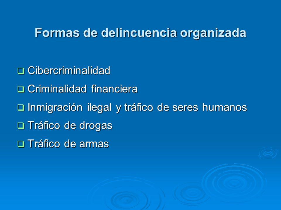 Formas de delincuencia organizada Cibercriminalidad Cibercriminalidad Criminalidad financiera Criminalidad financiera Inmigración ilegal y tráfico de