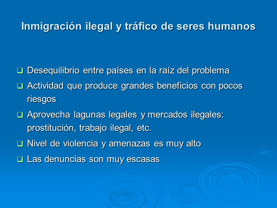 Inmigración ilegal y tráfico de seres humanos Desequilibrio entre países en la raíz del problema Desequilibrio entre países en la raíz del problema Ac