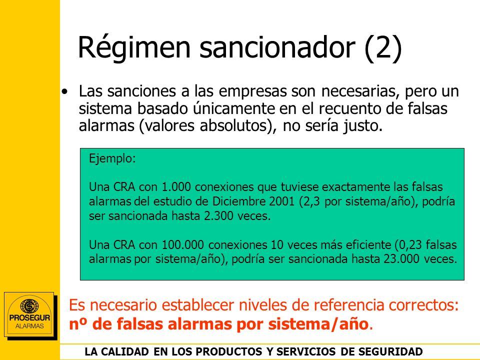 DEPARTAMENTO OPERACIONES LA CALIDAD EN LOS PRODUCTOS Y SERVICIOS DE SEGURIDAD Régimen sancionador (2) Las sanciones a las empresas son necesarias, per