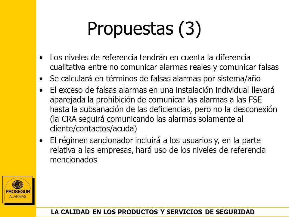 DEPARTAMENTO OPERACIONES LA CALIDAD EN LOS PRODUCTOS Y SERVICIOS DE SEGURIDAD Propuestas (3) Los niveles de referencia tendrán en cuenta la diferencia