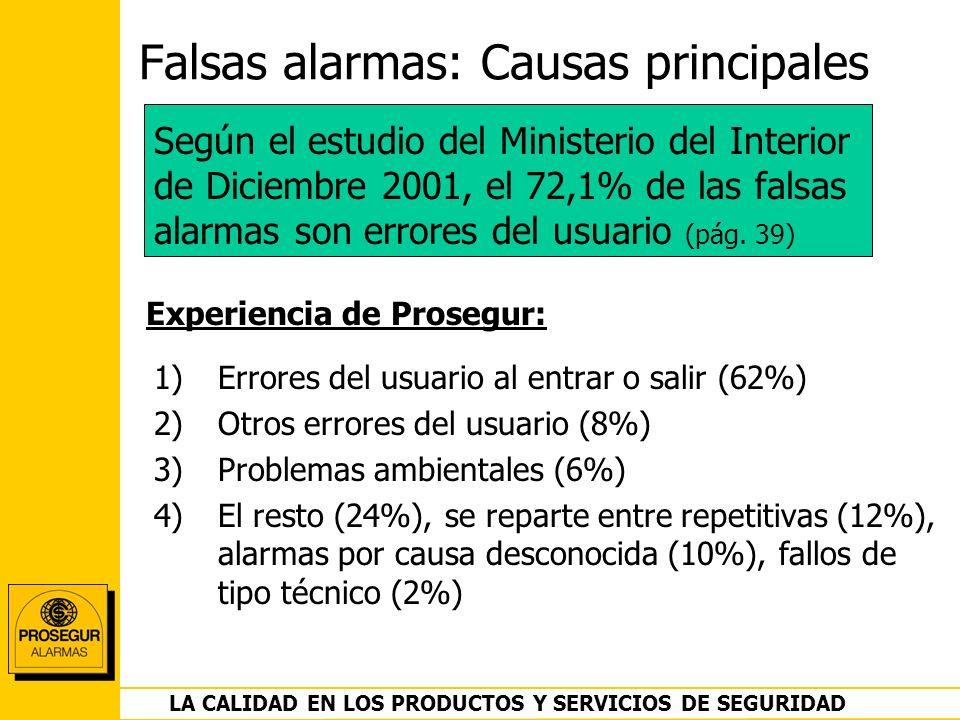 DEPARTAMENTO OPERACIONES LA CALIDAD EN LOS PRODUCTOS Y SERVICIOS DE SEGURIDAD Falsas alarmas: Causas principales 1)Errores del usuario al entrar o sal