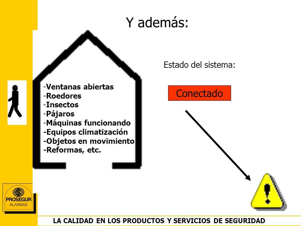 DEPARTAMENTO OPERACIONES LA CALIDAD EN LOS PRODUCTOS Y SERVICIOS DE SEGURIDAD Y además: Conectado Estado del sistema: -Ventanas abiertas -Roedores -In