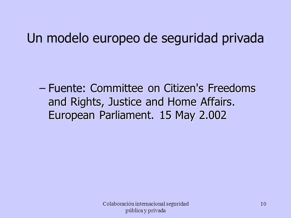 Colaboración internacional seguridad pública y privada 10 Un modelo europeo de seguridad privada Committee on Citizen's Freedoms and Rights, Justice a