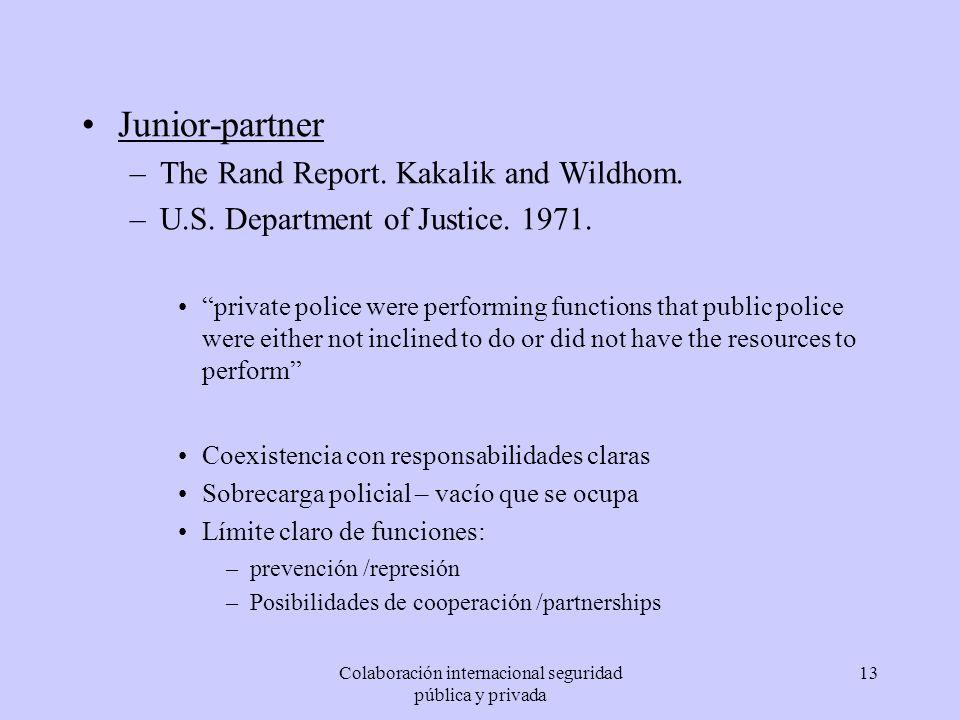 Colaboración internacional seguridad pública y privada 13 Junior-partner –The Rand Report. Kakalik and Wildhom. –U.S. Department of Justice. 1971. pri
