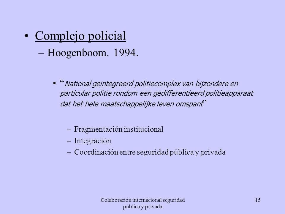 Colaboración internacional seguridad pública y privada 15 Complejo policial –Hoogenboom. 1994. National geintegreerd politiecomplex van bijzondere en