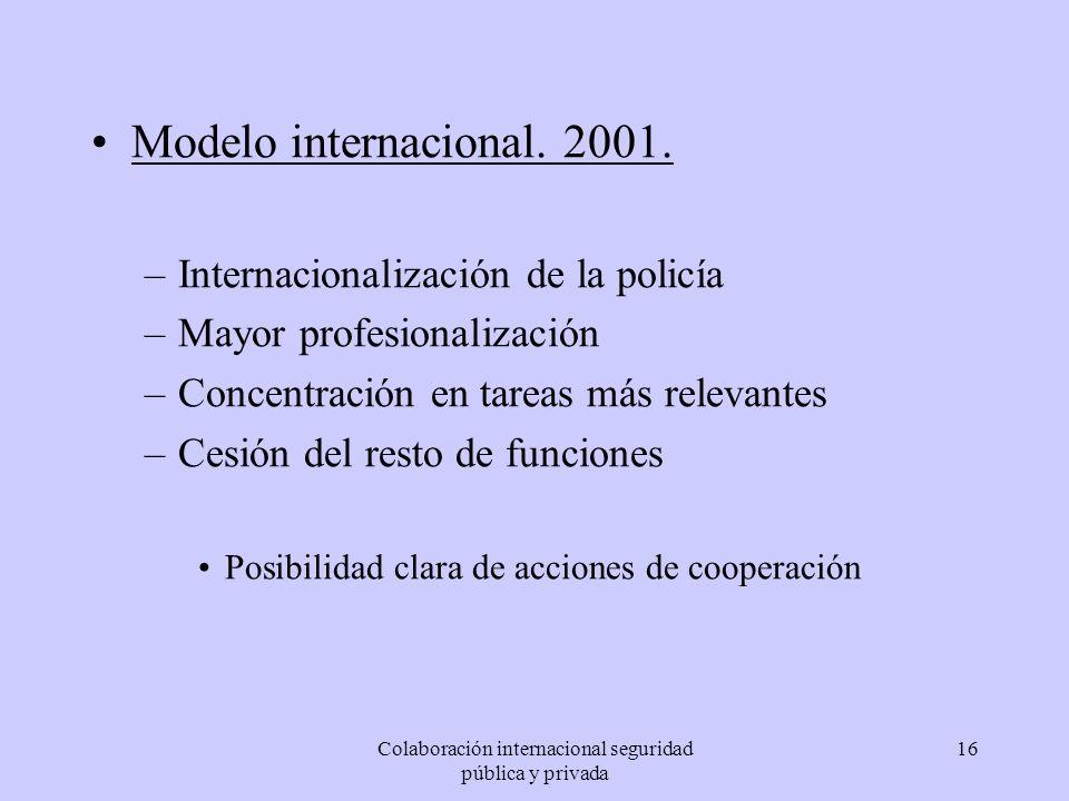 Colaboración internacional seguridad pública y privada 16 Modelo internacional. 2001. –Internacionalización de la policía –Mayor profesionalización –C