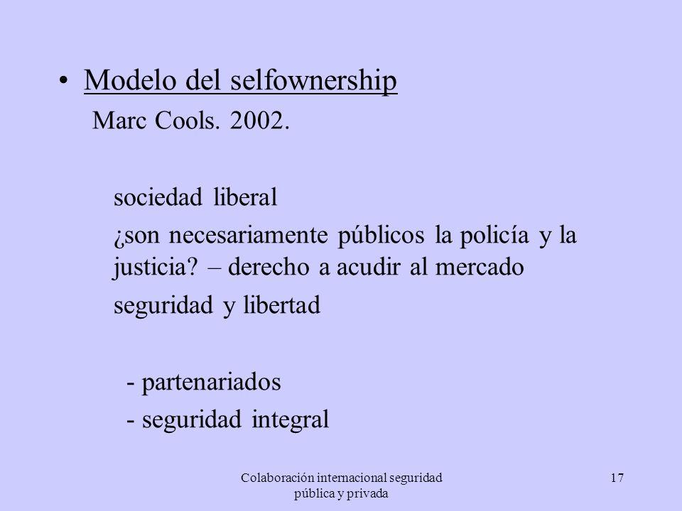 Colaboración internacional seguridad pública y privada 17 Modelo del selfownership Marc Cools. 2002. sociedad liberal ¿son necesariamente públicos la
