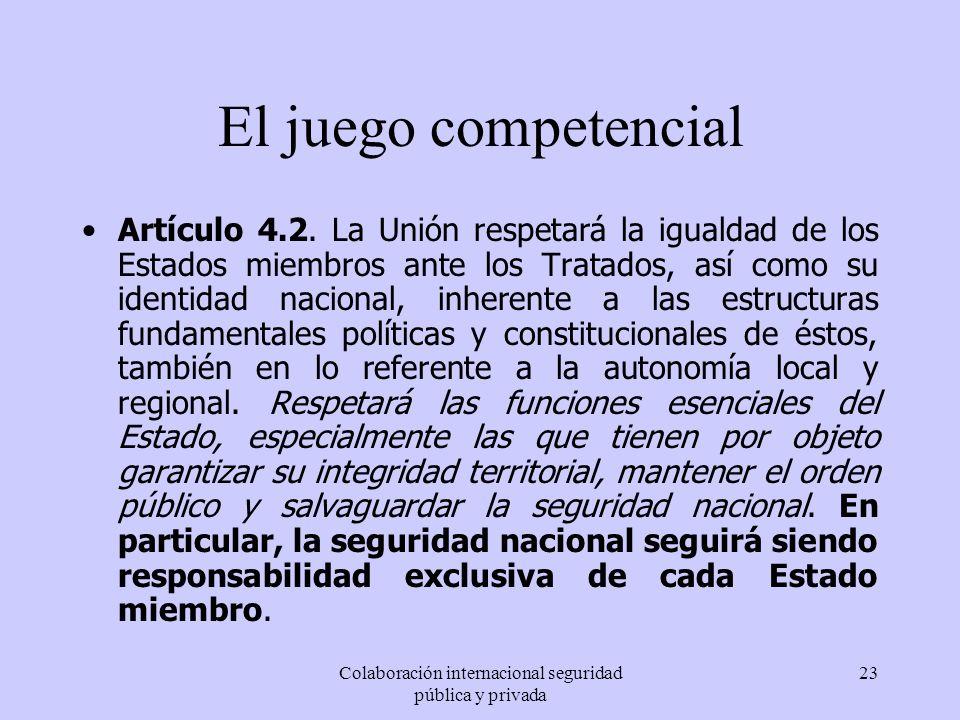 Colaboración internacional seguridad pública y privada 23 El juego competencial Artículo 4.2. La Unión respetará la igualdad de los Estados miembros a