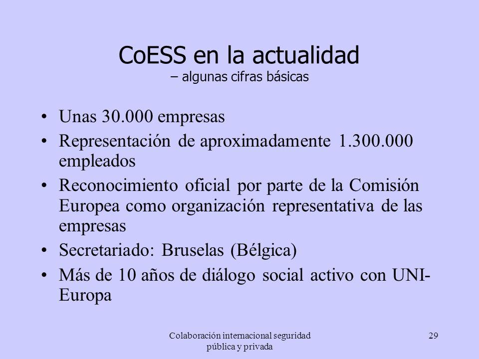 Colaboración internacional seguridad pública y privada 29 CoESS en la actualidad – algunas cifras básicas Unas 30.000 empresas Representación de aprox