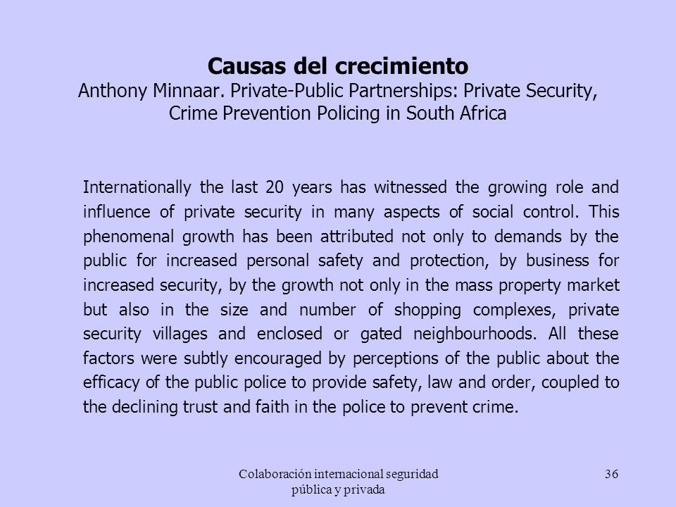 Colaboración internacional seguridad pública y privada 36 Causas del crecimiento Anthony Minnaar. Private-Public Partnerships: Private Security, Crime