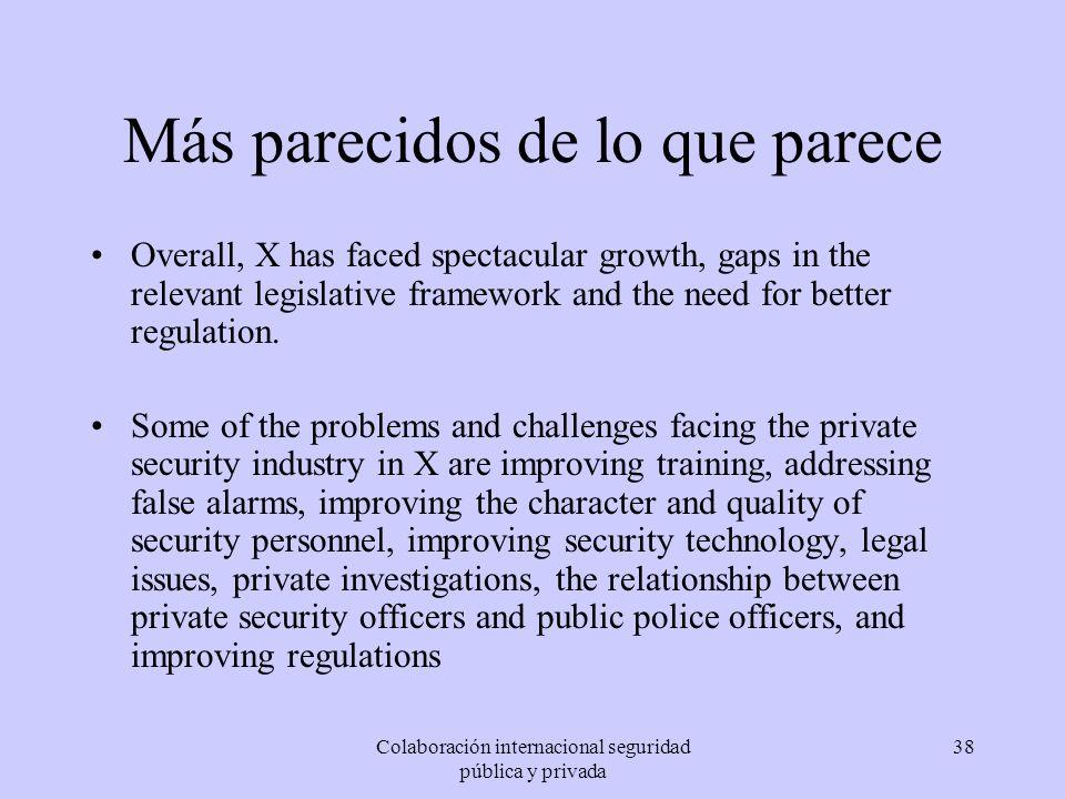 Colaboración internacional seguridad pública y privada 38 Más parecidos de lo que parece Overall, X has faced spectacular growth, gaps in the relevant