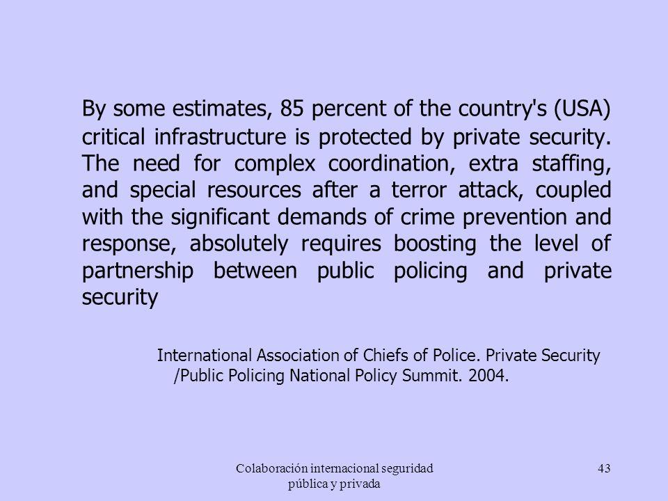 Colaboración internacional seguridad pública y privada 43 By some estimates, 85 percent of the country's (USA) critical infrastructure is protected by