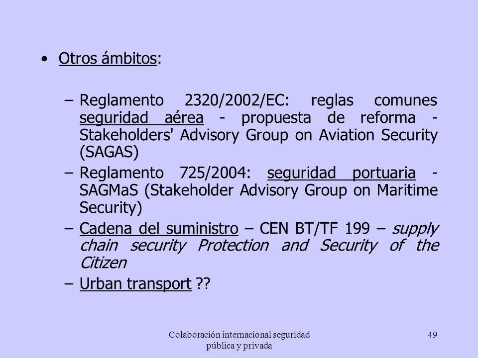 Colaboración internacional seguridad pública y privada 49 Otros ámbitos: –Reglamento 2320/2002/EC: reglas comunes seguridad aérea - propuesta de refor