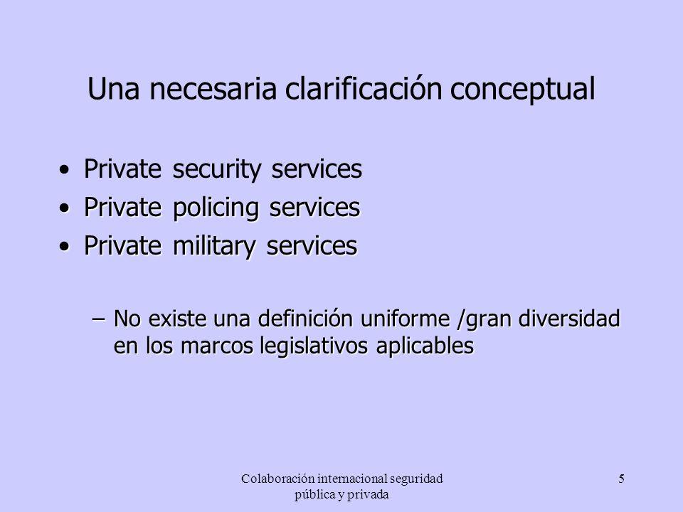 Colaboración internacional seguridad pública y privada 6 Colaboración internacional Entre seguridad pública y seguridad privada En el ámbito de la seguridad privada En el ámbito de la seguridad pública