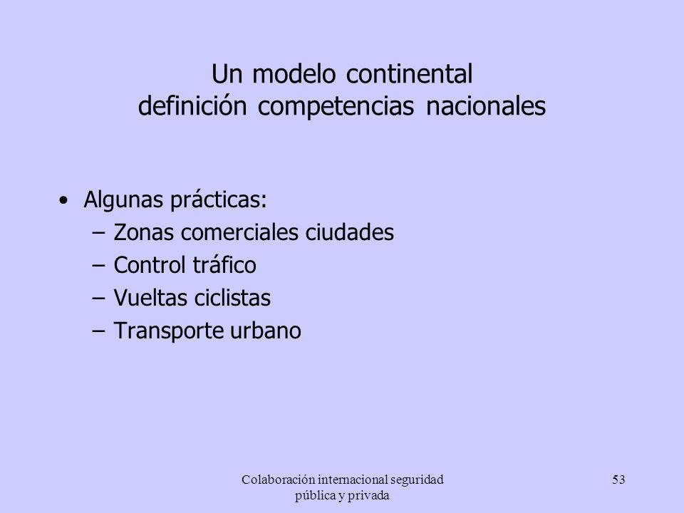 Colaboración internacional seguridad pública y privada 53 Un modelo continental definición competencias nacionales Algunas prácticas: –Zonas comercial