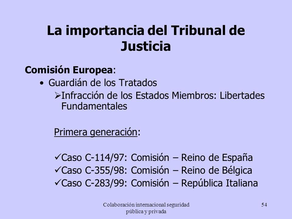 Colaboración internacional seguridad pública y privada 54 La importancia del Tribunal de Justicia Comisión Europea: Guardián de los Tratados Infracció