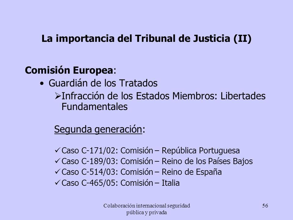 Colaboración internacional seguridad pública y privada 56 La importancia del Tribunal de Justicia (II) Comisión Europea: Guardián de los Tratados Infr