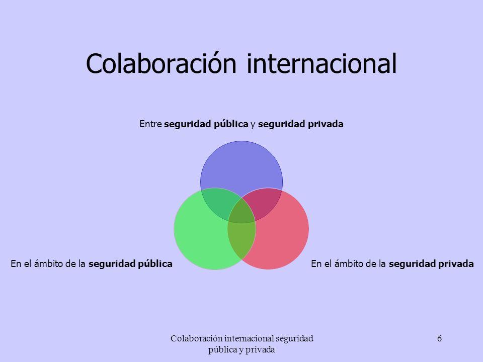 Colaboración internacional seguridad pública y privada 6 Colaboración internacional Entre seguridad pública y seguridad privada En el ámbito de la seg