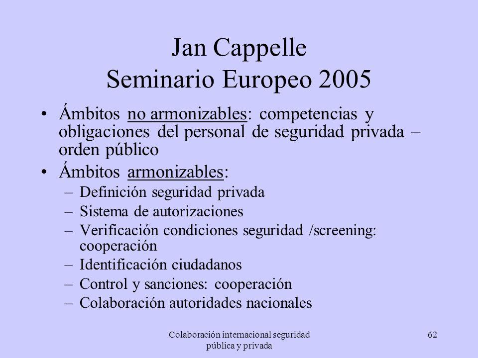 Colaboración internacional seguridad pública y privada 62 Jan Cappelle Seminario Europeo 2005 Ámbitos no armonizables: competencias y obligaciones del
