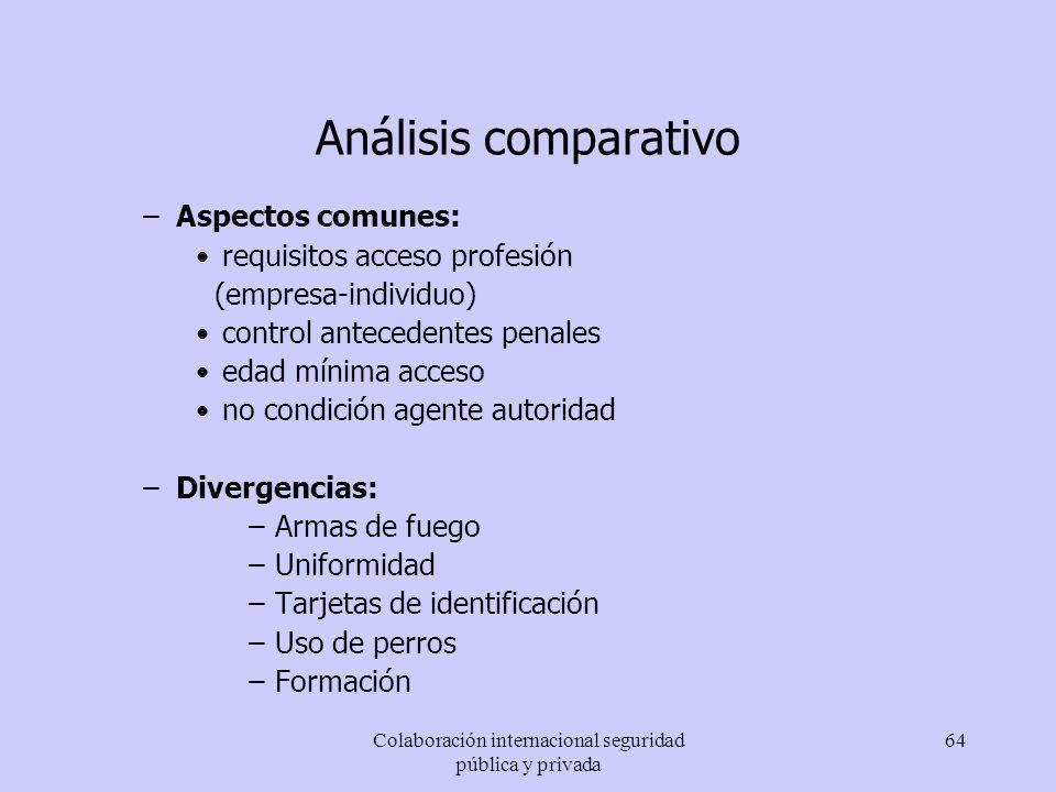 Colaboración internacional seguridad pública y privada 64 Análisis comparativo –Aspectos comunes: requisitos acceso profesión (empresa-individuo) cont