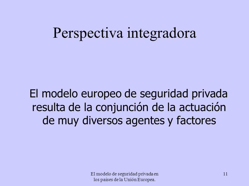 El modelo de seguridad privada en los países de la Unión Europea. 11 Perspectiva integradora El modelo europeo de seguridad privada resulta de la conj