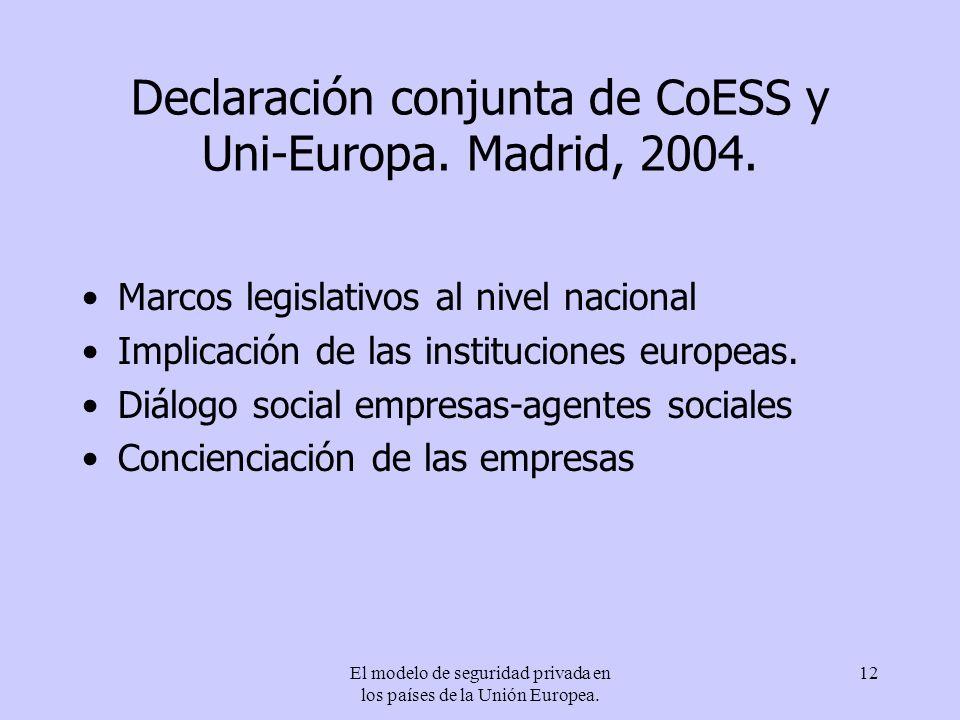 El modelo de seguridad privada en los países de la Unión Europea. 12 Declaración conjunta de CoESS y Uni-Europa. Madrid, 2004. Marcos legislativos al