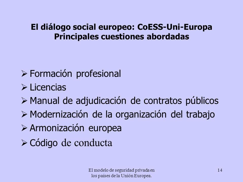 El modelo de seguridad privada en los países de la Unión Europea. 14 El diálogo social europeo: CoESS-Uni-Europa Principales cuestiones abordadas Form