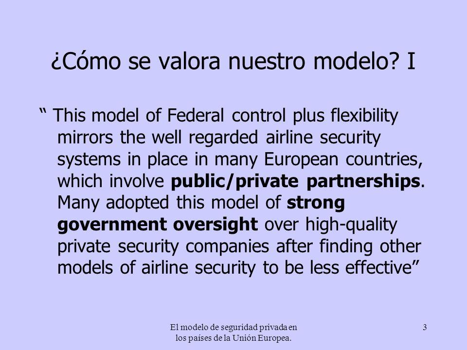 El modelo de seguridad privada en los países de la Unión Europea. 3 ¿Cómo se valora nuestro modelo? I This model of Federal control plus flexibility m