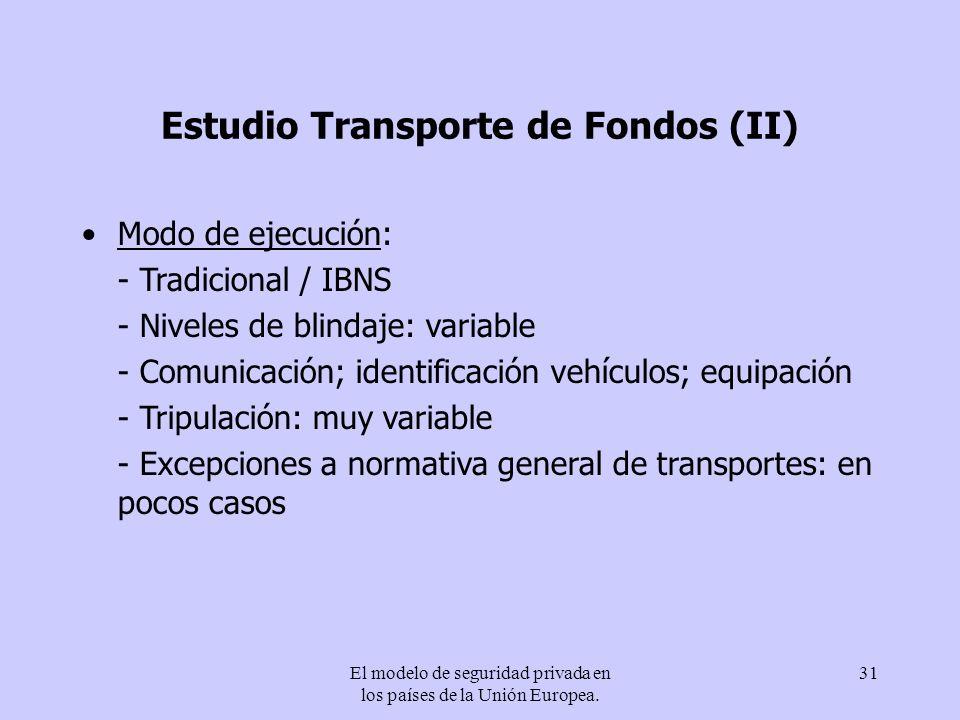 El modelo de seguridad privada en los países de la Unión Europea. 31 Estudio Transporte de Fondos (II) Modo de ejecución: - Tradicional / IBNS - Nivel